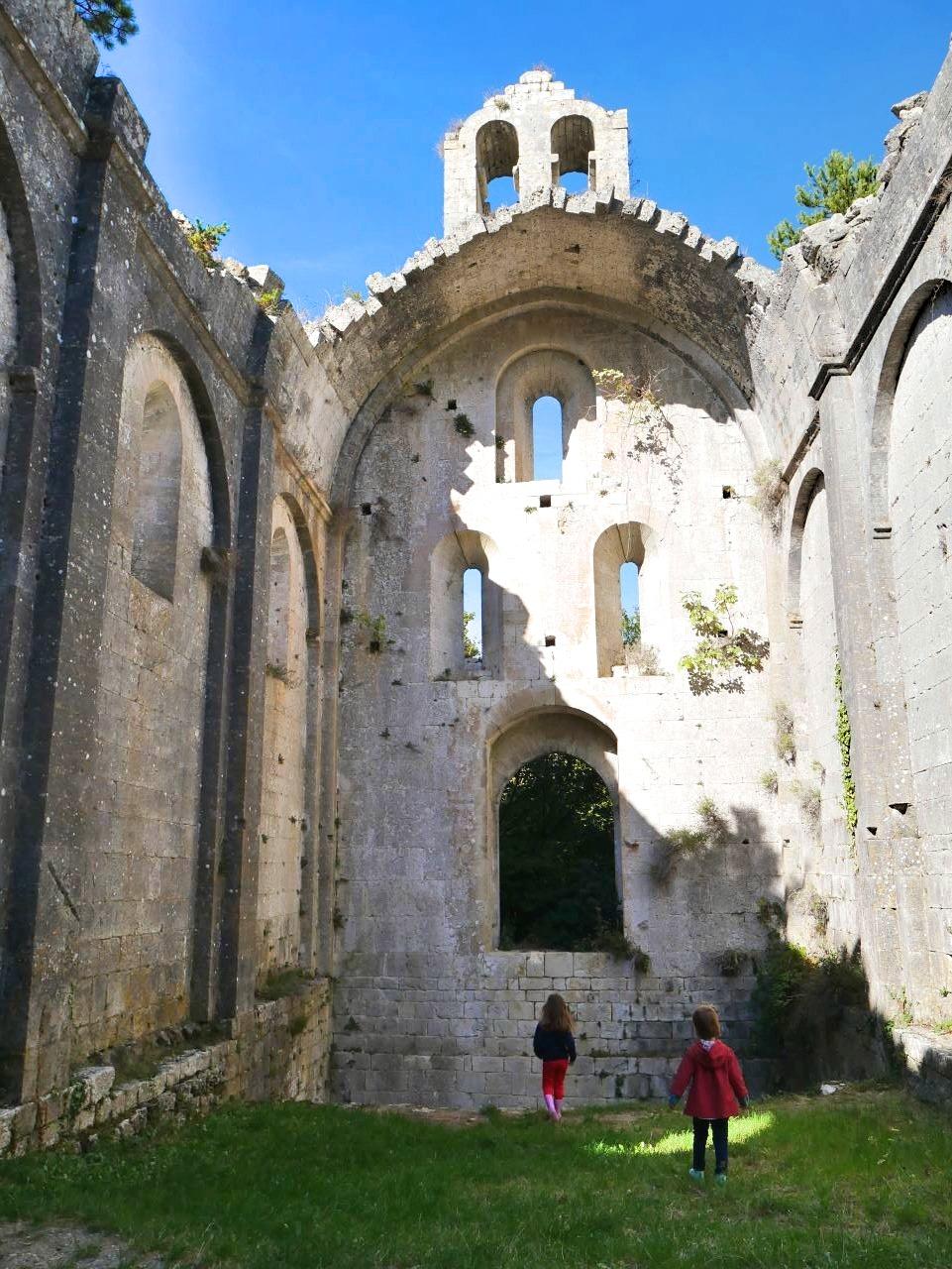 Balade en Drôme, au prieuré d'Aleyrac. L'intérieur de l'église en ruine